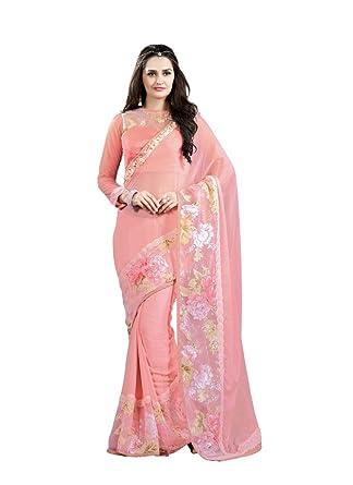 6b877566a74a07 Image Unavailable. Image not available for. Colour: Designer Soft Pink  Colour Chiffon 3D Flower saree