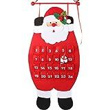 D-FantiX Santa Christmas Advent Calendar 2021, 3D Felt Hanging Advent Calendar Reusable Countdown to Christmas Calendar for K