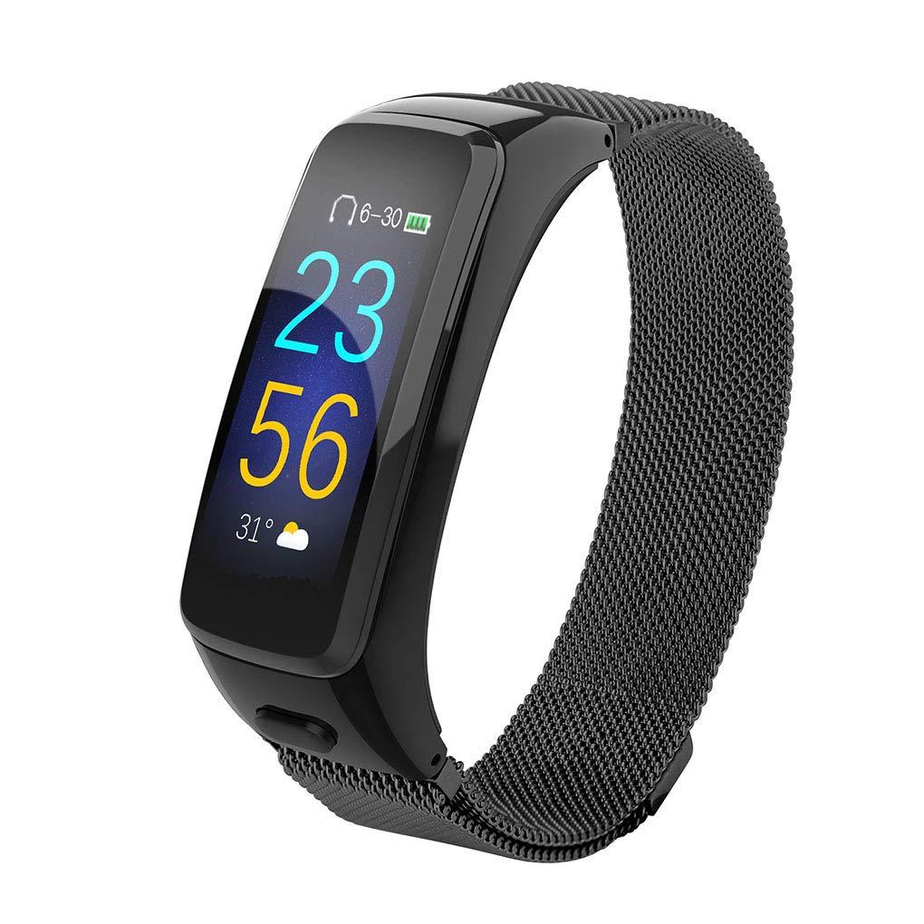OmkuwlQ Bluetooth Heart Rate Blood Pressure Oxygen 0.96'' Screen Wristband Wireless Stereo Earphone