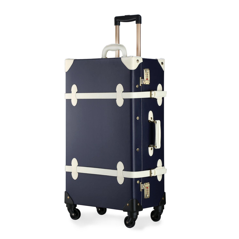 Unitravel Vintage Suitcase Retro PU Trunk Rolling Spinner Lightweight Luggage