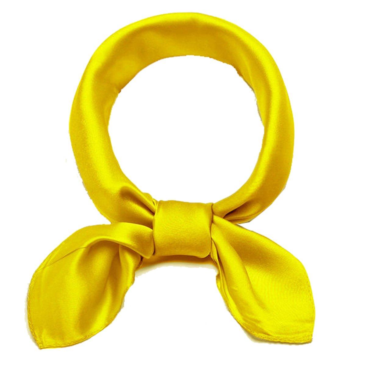 Elegant Solid Color Silk Neck Square Scarf Set 53cm Hairband Headdress Bandana