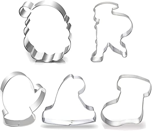 Wilton Cookie Cutter Cutters Metal Set of 7 Christmas Hats Boots /& Round Face