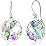925 Sterling Silver Amethyst Gemstone Abalone Shell Leaves Design Round Dangle Hook Earrings 1.4""