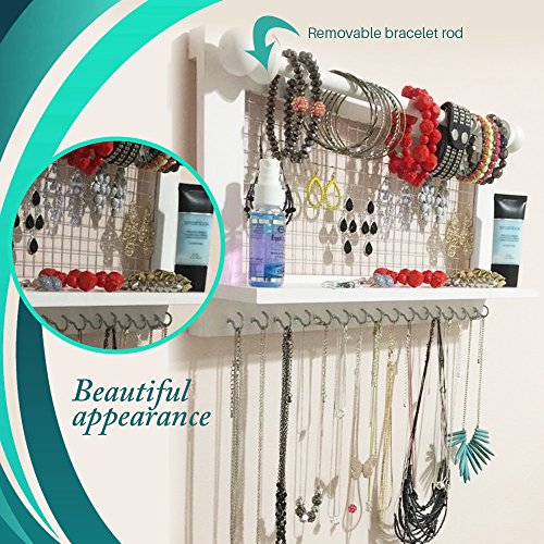 Hanging Jewelry Organizer | Wall Mounted Wooden Holder for Necklace, Earrings, Bracelets, Rings & Other Accessories | With Hooks, Shelf, Wire Grid & Removable Bar | 17.5'' x 10'' Size | White by Jewelry Display (Image #2)
