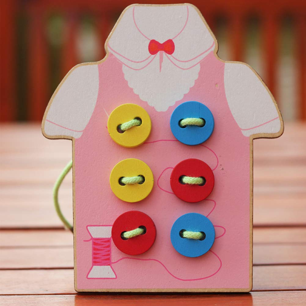 potato001 Kids Children Wooden Sew-on Buttons Lacing Board Toddler Early Education Toy Green by potato001 (Image #2)