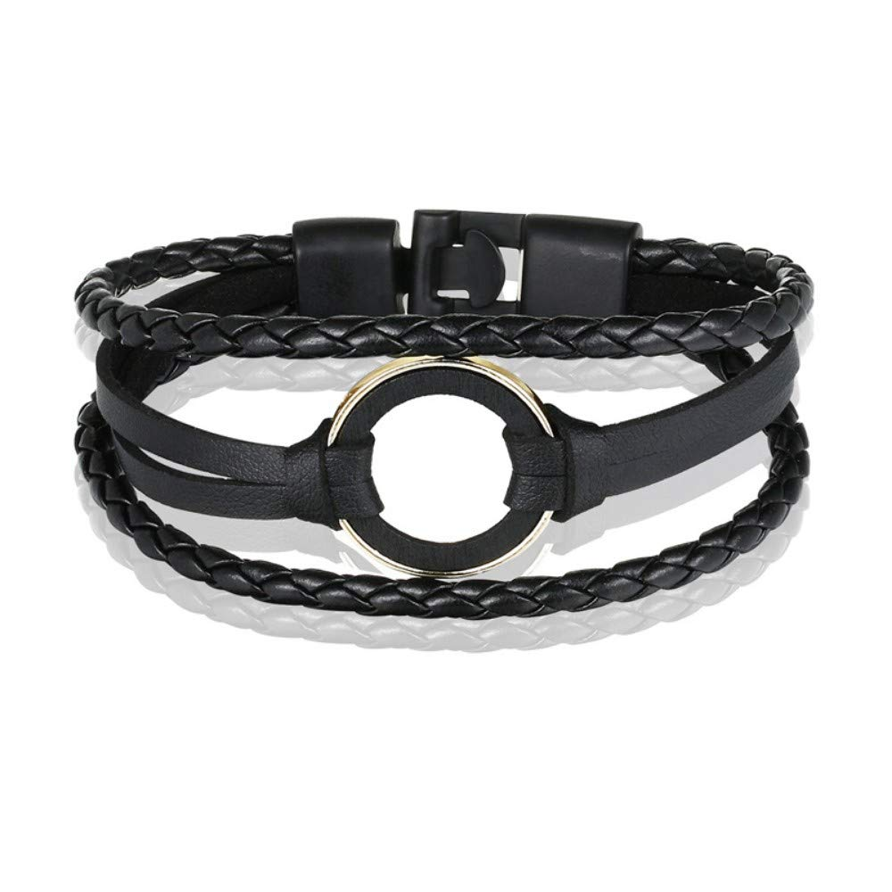 19CM Bracelet Men,Infinite Black Braided Men's Bracelet Round Wood Fashion Bracelet Men's Leather Bracelet Lady Accessories