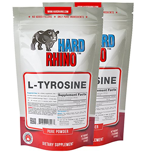 Hard Rhino L-Tyrosine Powder, 250 Grams (8.8 Oz), Unflavored, Lab-Tested, Scoop Included
