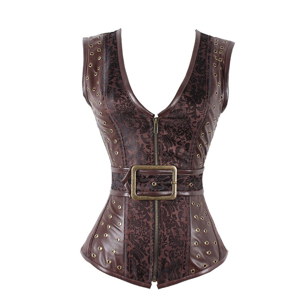 bb7543682c Amazon.com  Women s Steampunk Vintage Brocade Brown Zipper Gothic Corset  Waistcoat Vest  Clothing