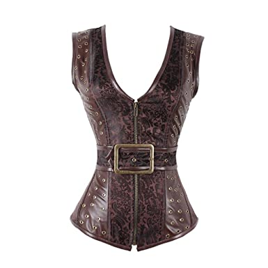 cf0530abd46 Women s Steampunk Vintage Brocade Brown Zipper Gothic Corset Waistcoat Vest  ...