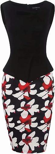 MisShow elegancka sukienka biznesowa, damska, bardzo duży rozmiar, do kolan, sukienka do zawijania: Odzież