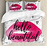 Ambesonne Hello Duvet Cover Set Queen Size, Lip Shape in Watercolor with a Phrase of Love Over with Hearts Valentine's Theme, Decorative 3 Piece Bedding Set with 2 Pillow Shams, Magenta Black,