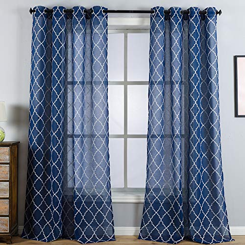Kotile Grommet Sheer Curains for Bedroom - White Moroccan Tile Lattice Embroidered 2 Panels Light Filtering Voile Drapes for Living Room, 52 Inch by 84 Inch, Navy