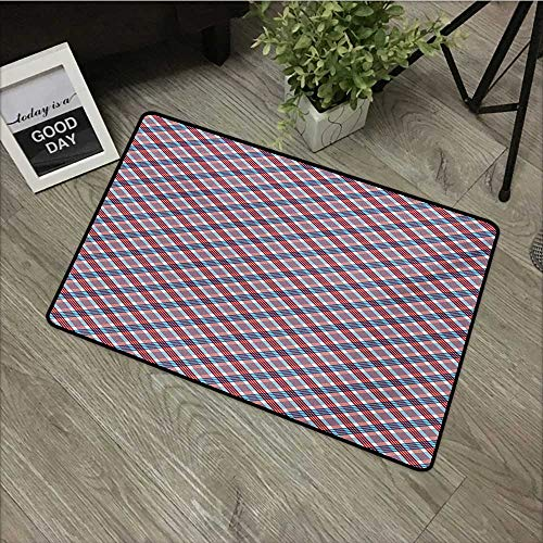 Bathroom mat W24 x L35 INCH Plaid,Checkered Pattern with Diagonal Stripes Antique Nostalgic Composition,Vermilion Navy Blue White with Non-Slip Backing Door Mat Carpet ()