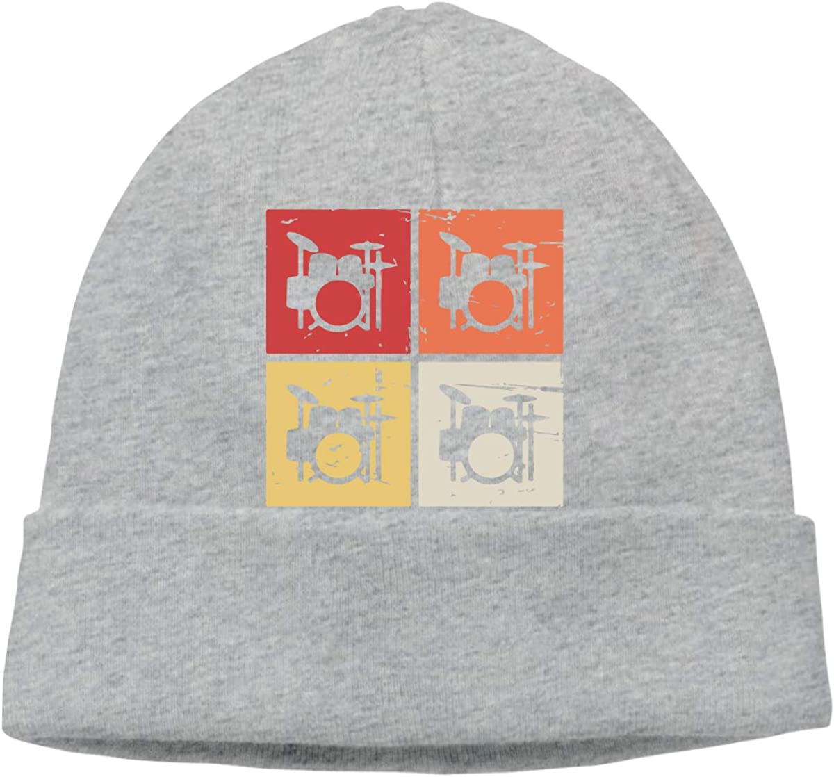 Cotton Skull Cap Mens and Womens Retro Vintage Drum Kits Knitted Hat