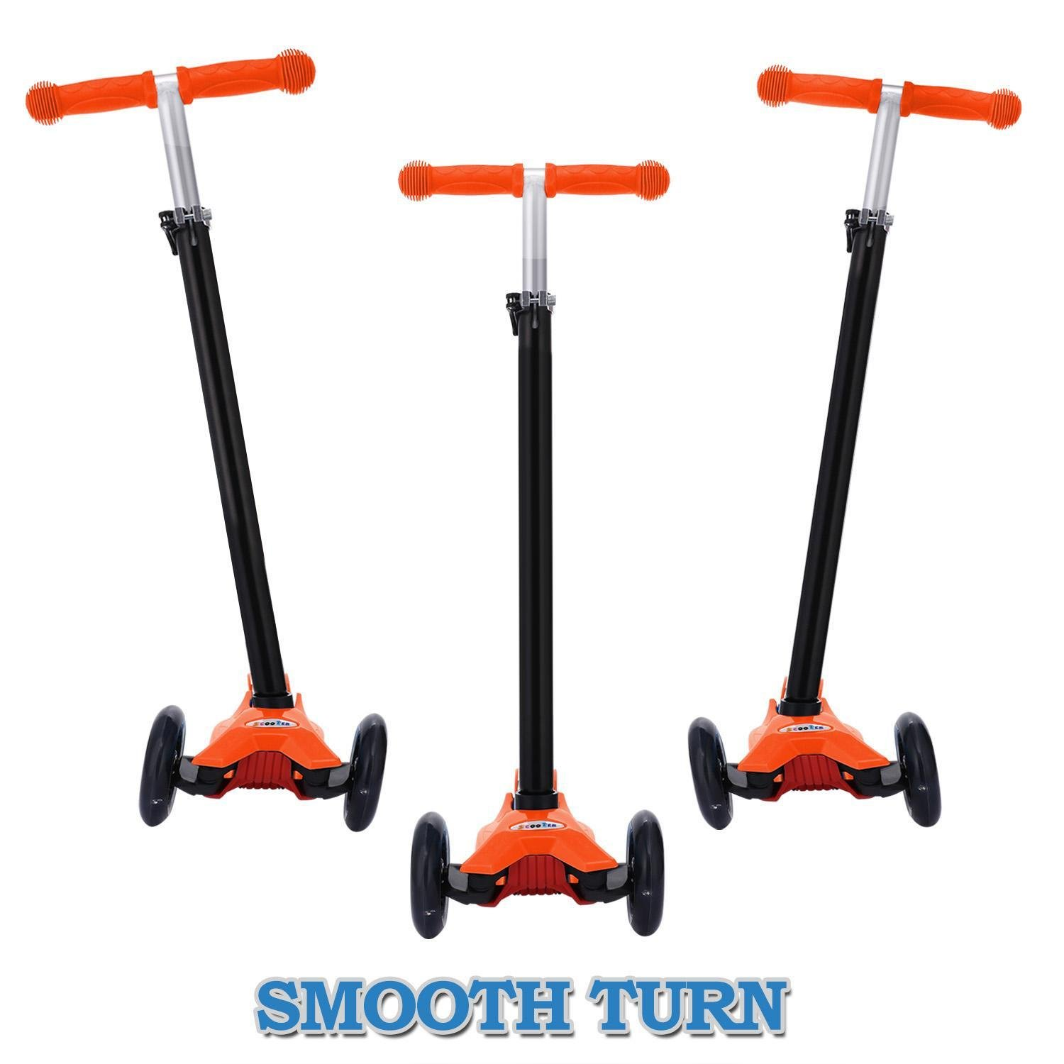 Hindom Kick Scooter, 3 Wheel Scooter with T Style Handle Bar for Kids (3~17), US STOCK (ORANGE)