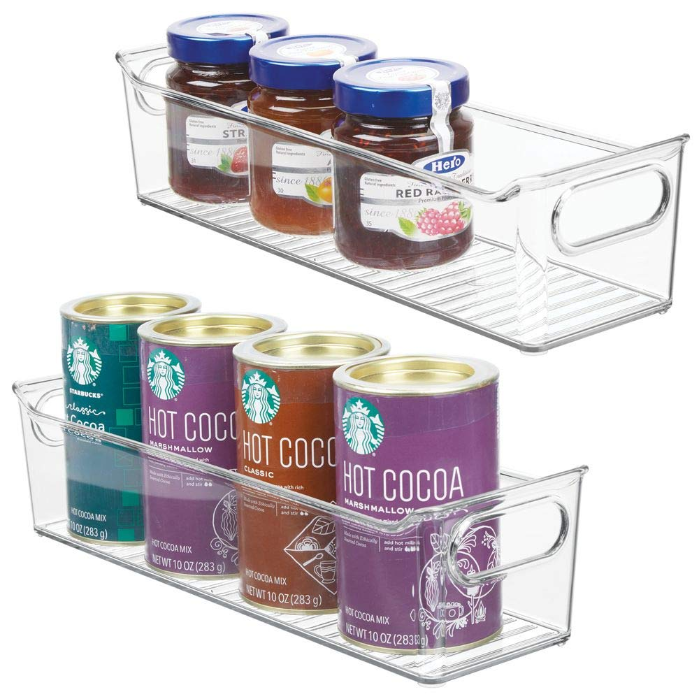 "mDesign Slim Plastic Kitchen Pantry Cabinet, Refrigerator or Freezer Food Storage Bin with Handles - Organizer for Fruit, Yogurt, Snacks, Pasta - BPA Free, 14"" Long, 2 Pack - Clear"