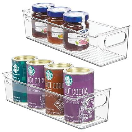 mDesign Juego de 2 fiambreras para el frigorífico apilables – Cajas de plástico para guardar alimentos