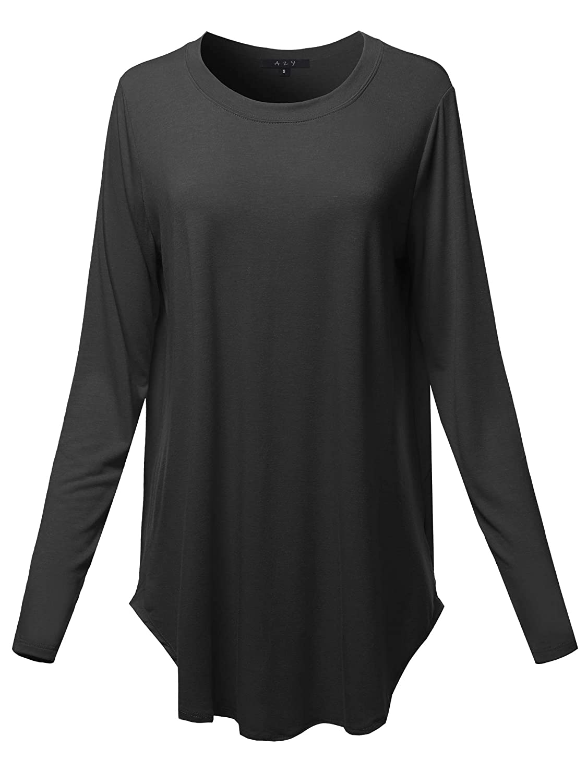 Crew Neck  Black A2Y Women's Premium Long Sleeve Dolphin Hem Shell Button Henley Top (S  3XL)