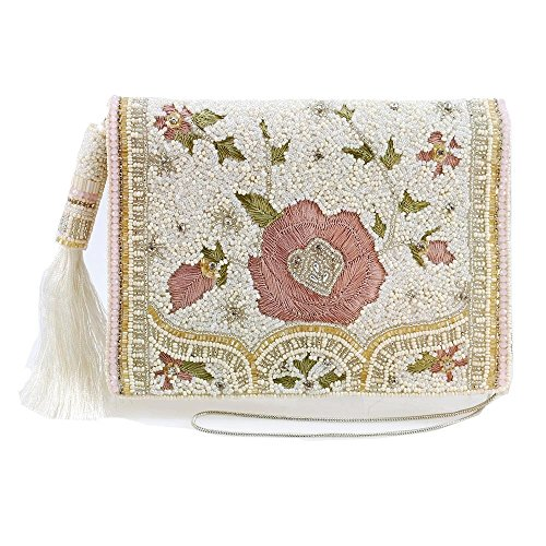 Crossbody Blush Mini Embroidered MARY FRANCES Beaded Handbag Floral 6q1v14