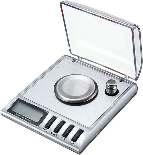 50//0.001g Escala de miligramas digital Escala de la joyer/ía de recarga Peso digital con pesas de calibraci/ón Pinzas y bandejas de pesaje