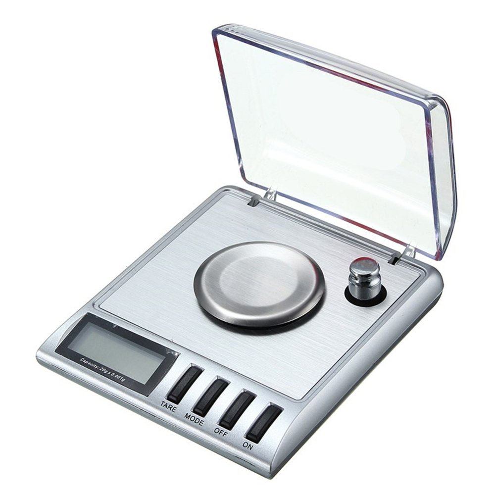 Digital Weight Scale, 20g 0.001g Precision Pocket Scale, Tare Function, Stainless Steel Weighing Platform, Jewellery Scales