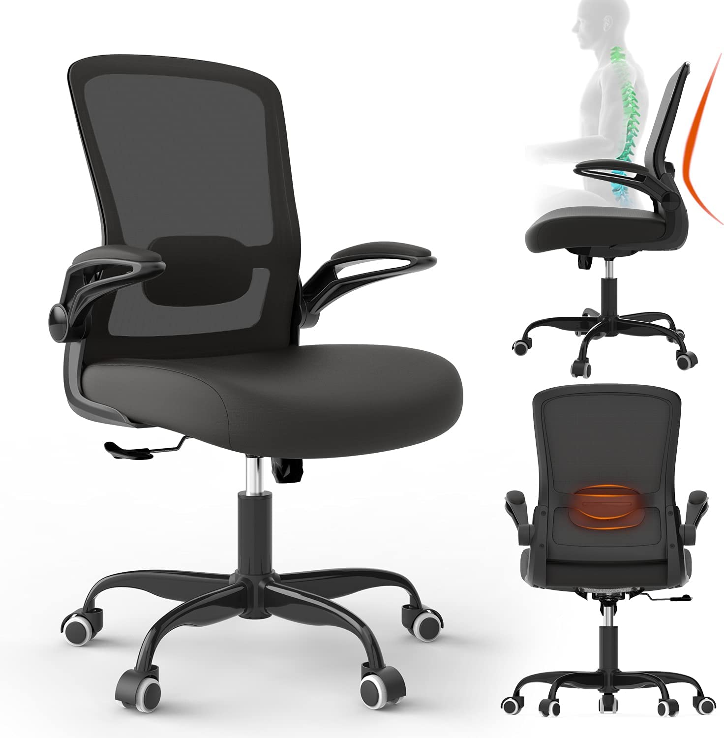 Ergonomic Desk Chair, Office Chair,Mesh Computer Chair with Flip Up Arms, Modern Executive Chair with Lumbar Support & Adjustable Height,Task Chair for Home Office