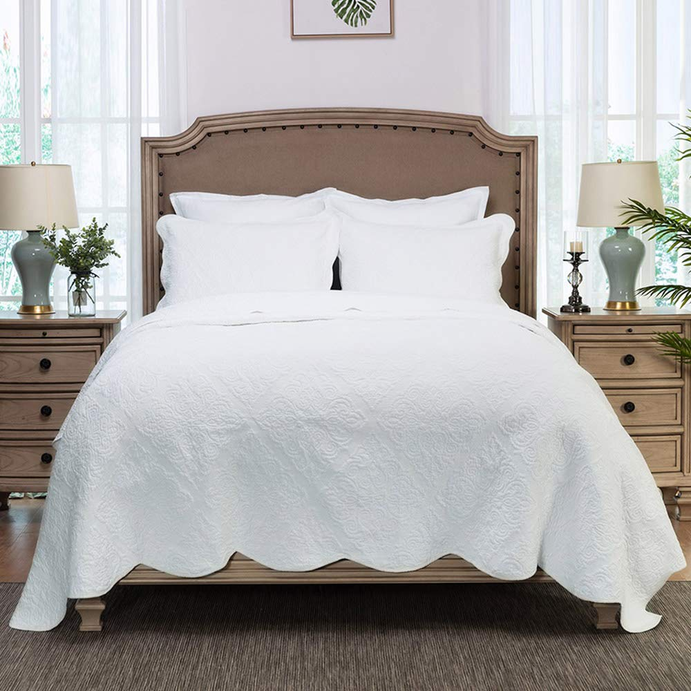 Elegant Life All-Season Cotton Collection Martha Reversible Allover Trapunto Quilting Coverlet Bedding Quilt, Oversized King, 106'' x 92'', White Color