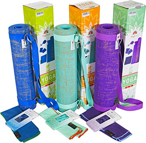 e Reversible Eco Friendly Yoga Mat, Cotton Stretching/Carry Strap & Hand Towel Set – Non Toxic SGS Certified, Versatile & Durable - Perfect for Hot, Vinyasa, Pilates & More - Green ()