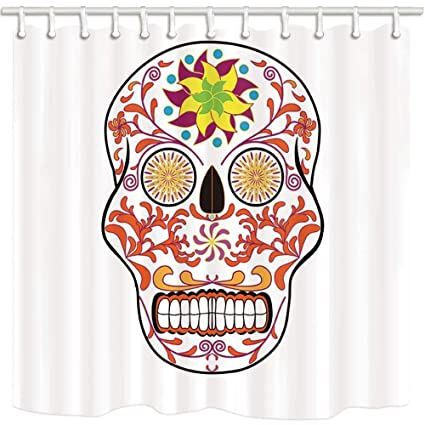 Yaoni Sugar Skulls Shower Curtains White Mexican Style Decor Pattern Mildew Resistant Polyester Fabric