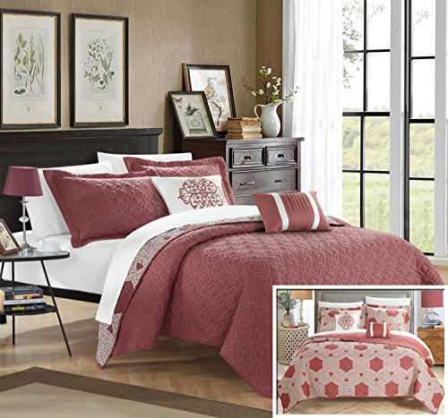 Chic Home 5 Piece Zoe Hexagon Quilted Embroidered With Conte