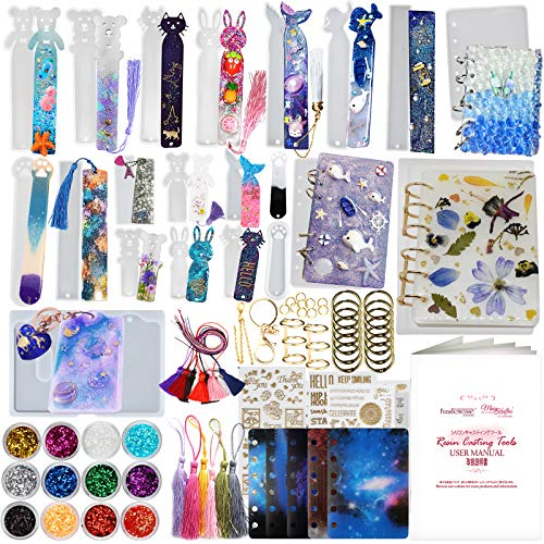 Funshowcase Book Covers Bookmarks Card Cover Silicone Resin Molds Epoxy Casting Set 87-kit with Book Rings Tassels Glitters Stickers Film Inlay Keychain