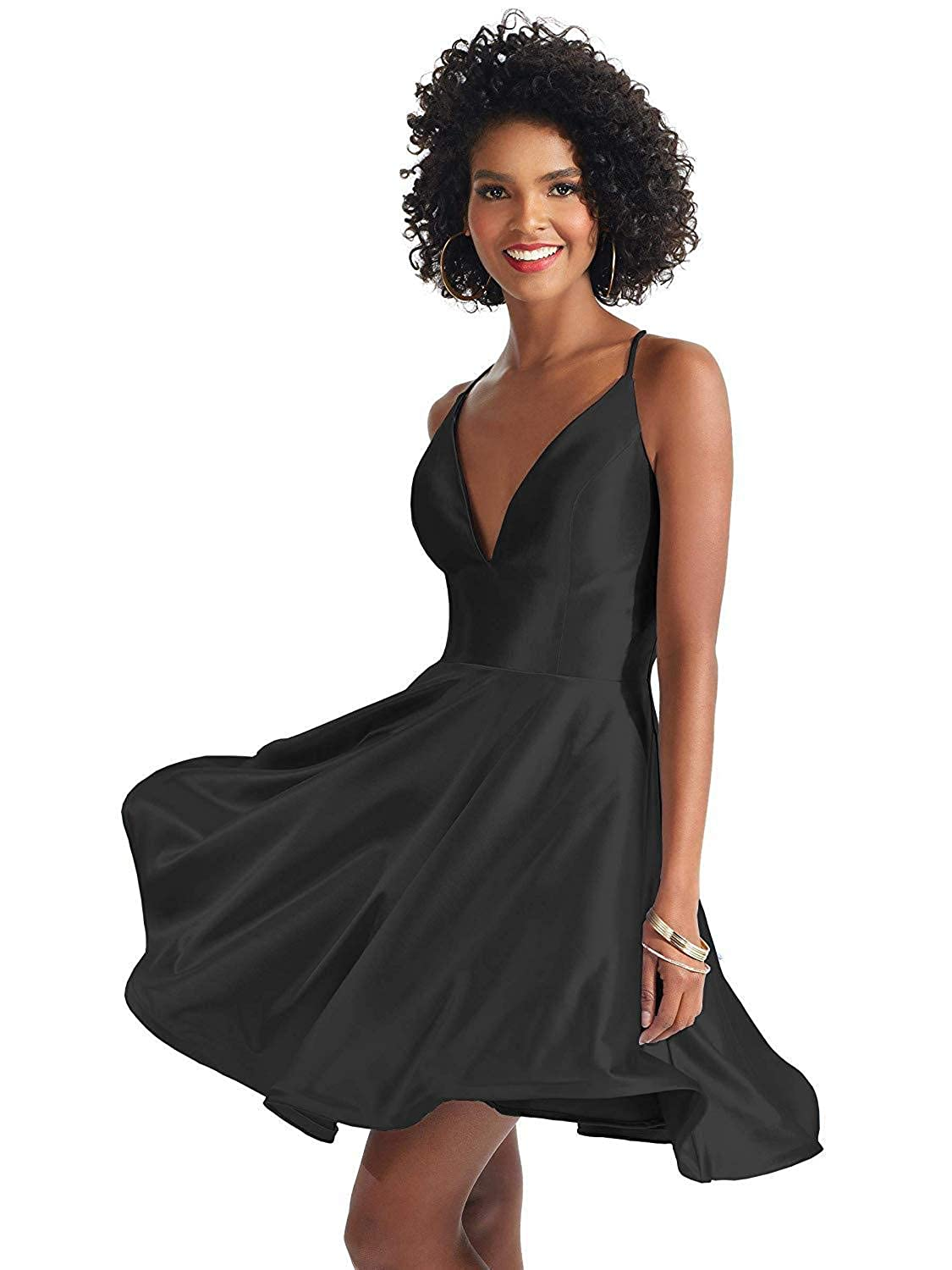 a2c8c4e657 Rjer V Neck Homecoming Dress with Pockets Backless Satin A line Prom Party  Wedding Evening Dresses