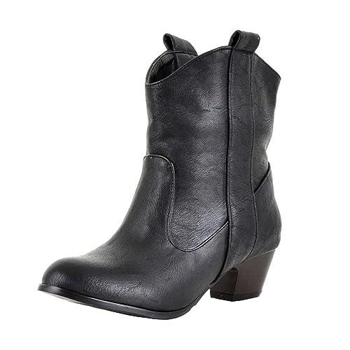 1773a136a5e Amazon.com   Agodor Womens Low Block Heel Ankle Boots Westen Cowboy ...