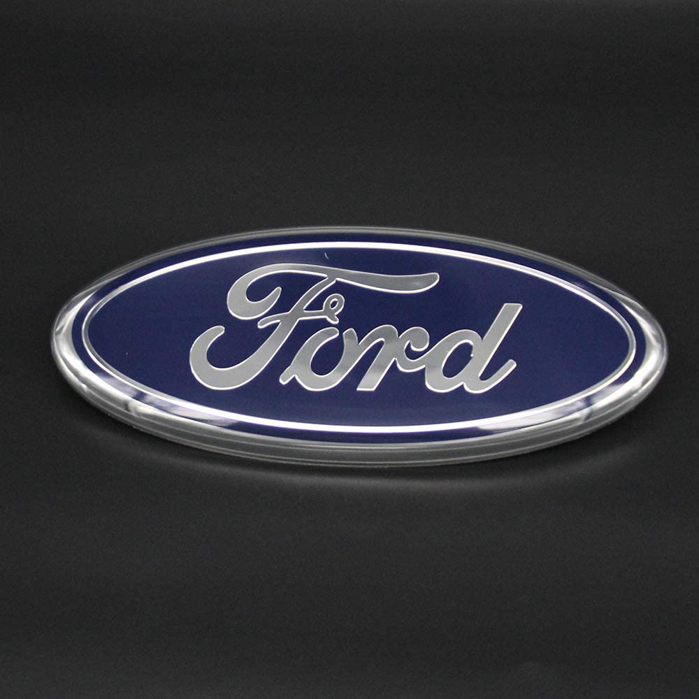 11-14 Edge 11-16 Explorer 06-11 Ranger Cardiytools Front Tailgate Emblem,3D Oval 9 Inch Adhesive Black Decal Badge Nameplate for Ford 04-14 F150 F250 F350 White