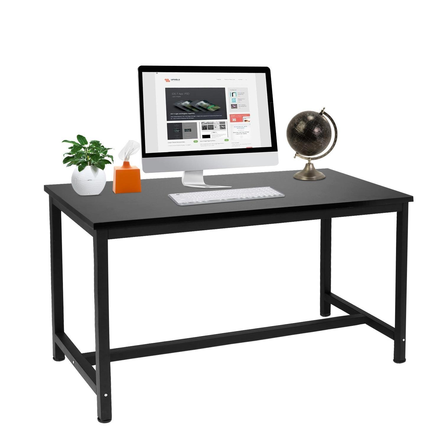 Amazon com stable durable home office desk table large space mdf workstation desk for computer monitor printer 54 6 x 23 4 x 29 6inch black kitchen