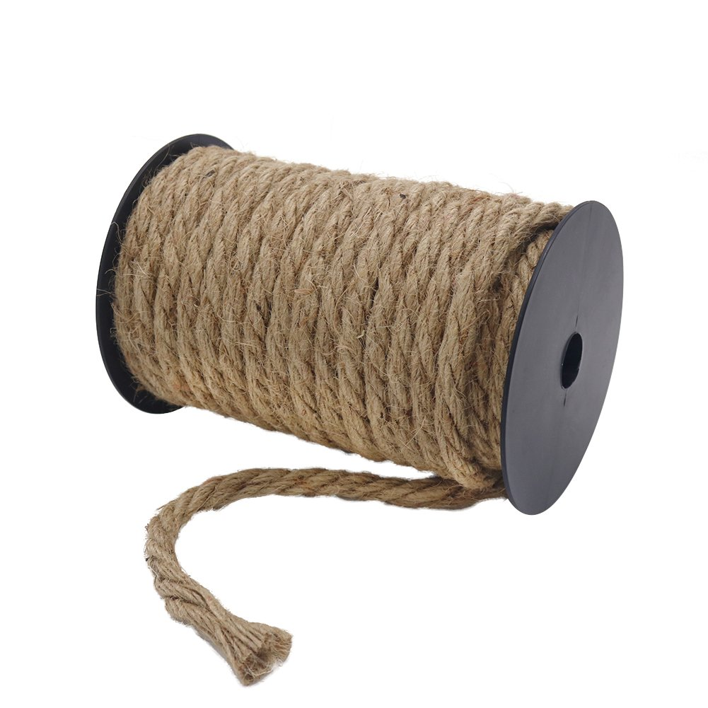 Tenn Well 50 Feet 10MM Natural Jute Rope, Heavy Duty Jute Twine for Gardening, Bundling, Decorating, DIY Crafts by Tenn Well