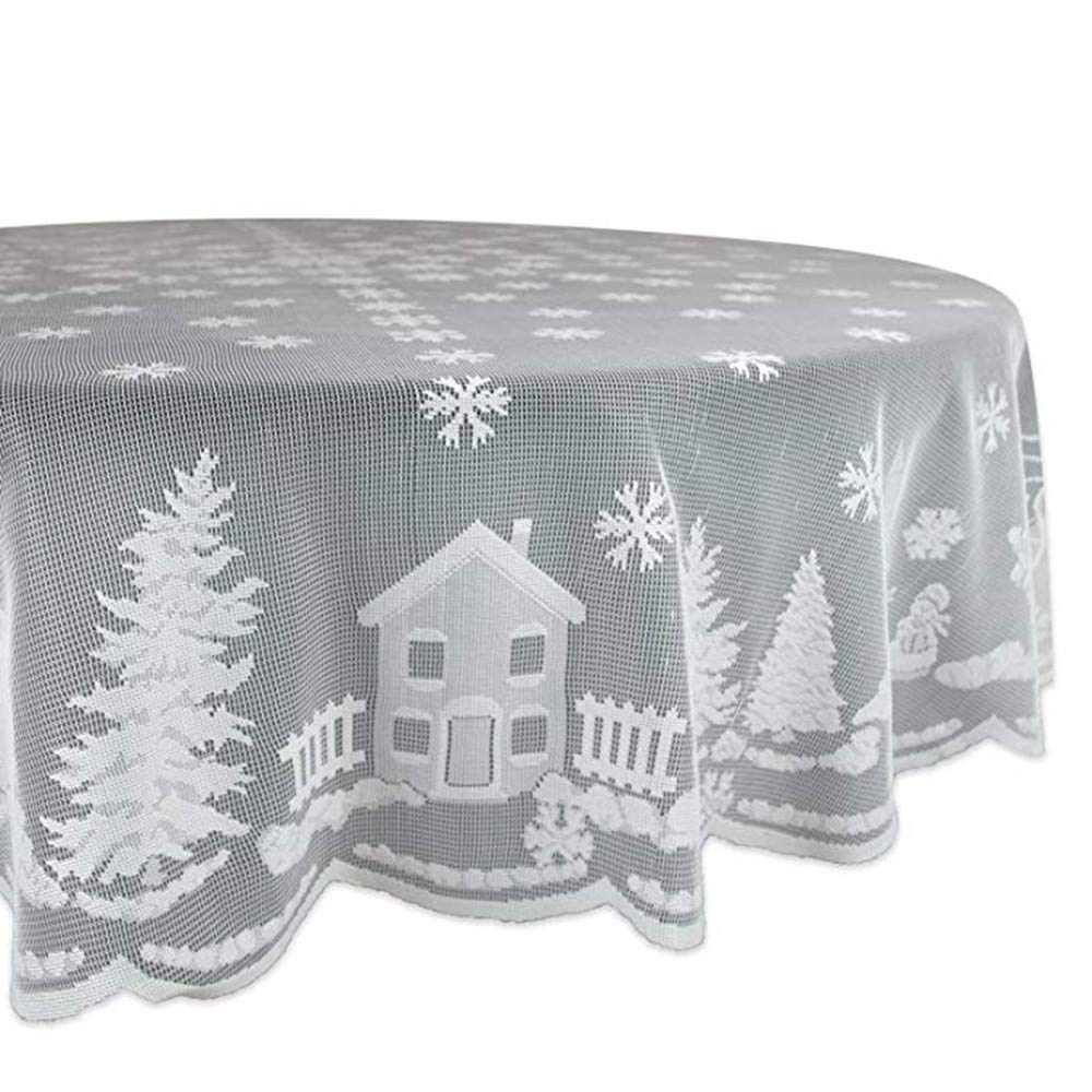 Noël Dentelle Blanche Flocon De Neige Nappe Room Decor Table Décor Housse de Noël Hot