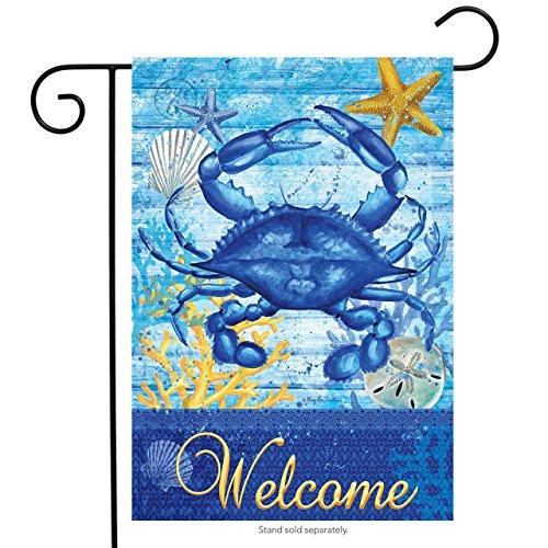 Blue Crab Welcome Summer Garden Flag Nautical Starfish Seashell 12.5