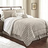Spirit Linen, Inc Hotel 5th Ave King Taupe/White Hotel 5th Ave Galaxy Collection 7 PC Comforter Set