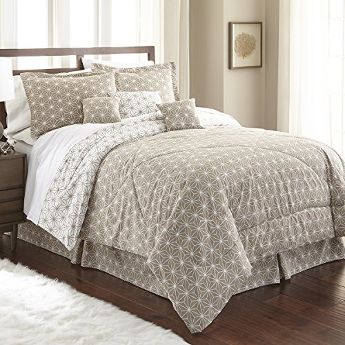 Spirit Linen, Inc Hotel 5th Ave King Taupe/White Hotel 5th Ave Galaxy Collection 7 PC Comforter Set by Spirit Linen, Inc Hotel 5th Ave (Image #1)