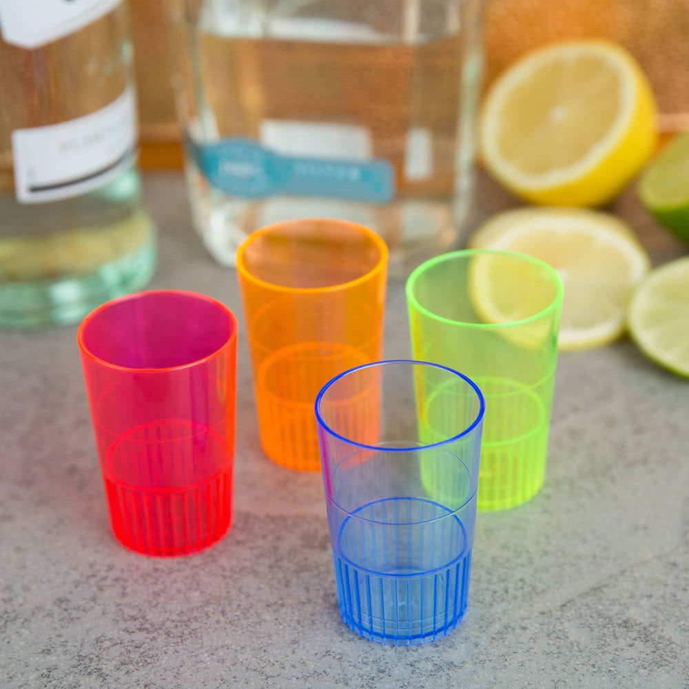 Fineline Quenchers 4115-BL 1.5 oz. Neon Blue Hard Plastic Shooter Glass - 500/Case by Fine-line