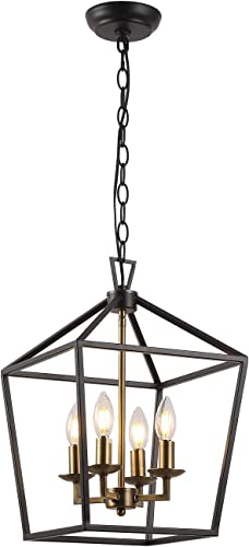 Farmhouse Lantern Chandelier ,4-Light Metal Adjustable Height Industrial Square Pendant Light,for Living Room,Kitchen Lsland,Hallway Foyer Hanging Lighting Black Gold