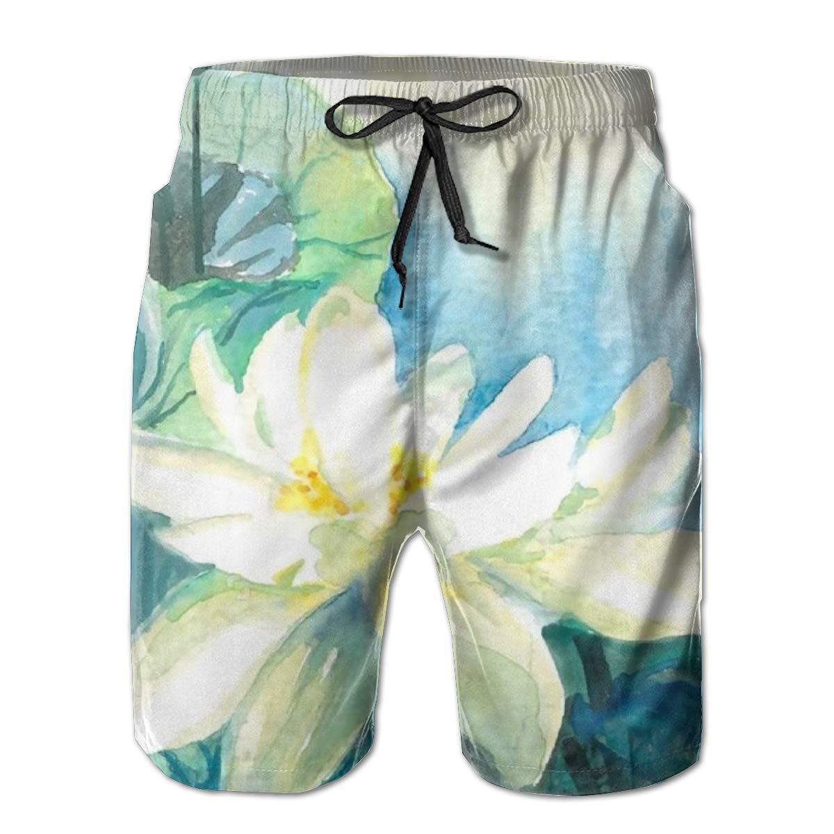 Airealy Men/'s Summer Beach Trunks White Lotus Flower Drawstring Elastic Waist Quick Dry Swim Shorts Swimwear
