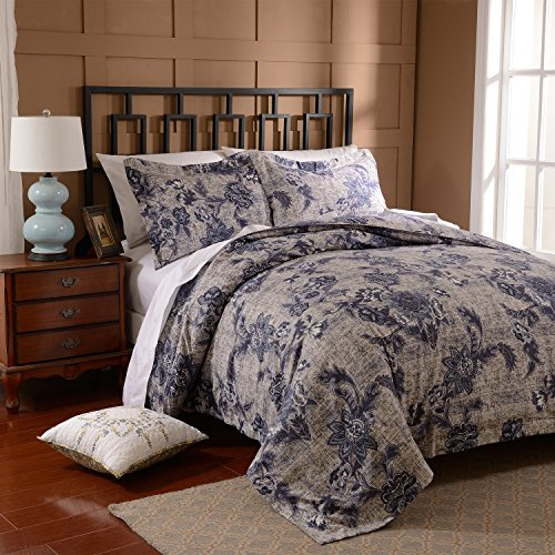 Simple&Opulence Polyester Printing Elegant Simple Blue Flowers Bedding Quilt Duvet Cover Set Including 1 Duvet Cover and 2 Pillow Cases (King, Blue) (Simple Flowers Set)