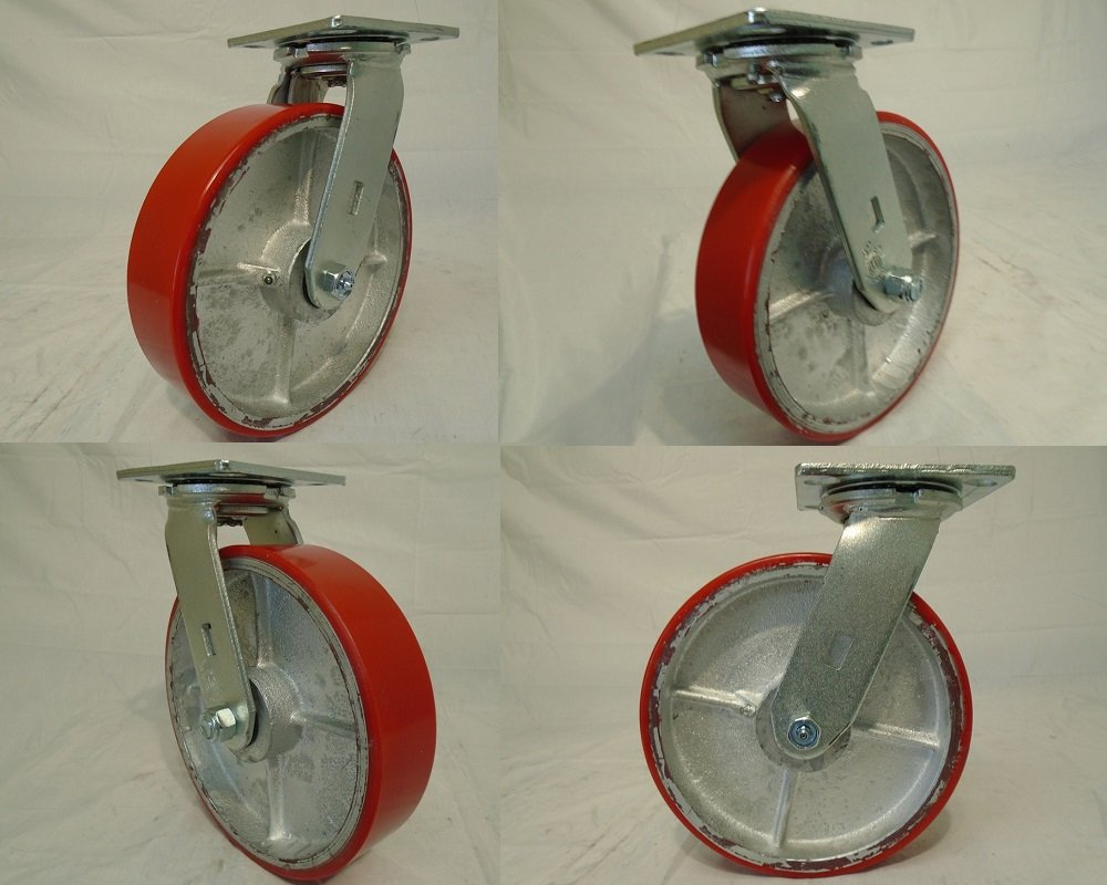 8'' X 2'' Swivel Casters Heavy Duty Polyurethane Wheel on Steel Hub 1400lb Each (4) Tool Box