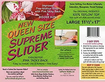 16.5 Inch X 22 Inch Improved Trimable Free-motion Slider with Pink Tacky Back and Bigger Size King Size Supreme Slider Free Motion Machine Quilting Mat