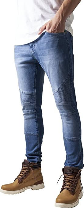 Urban Classics TB1436 Herren und Jungen Jeanshose Slim Fit Biker Jeans, Five-Pocket Stretch Biker Hose im Used Look