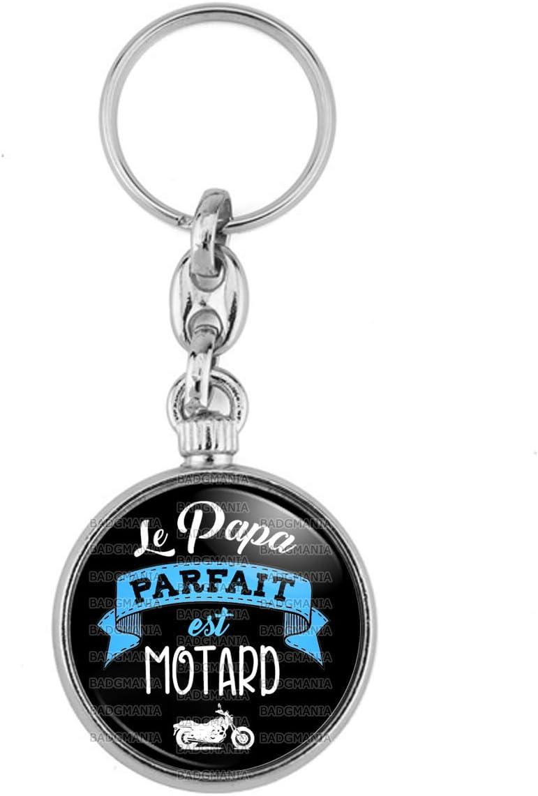 Id/ée Cadeau F/êtes des Peres Anniversaire Moto Blanche Fond Noir Porte-Cl/és M/étal Le Papa Parfait est Motard