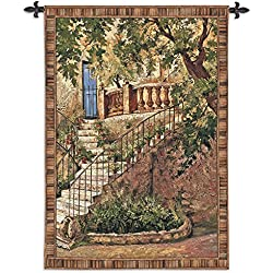 Fine Art Tapestries Tuscan Villa I Large Wall Tapestry 3352-WH 53 inches Wide by 70 inches Long, 100% Cotton