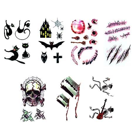 WWK Etiqueta Engomada del Tatuaje De Halloween, Dibujo A Color ...